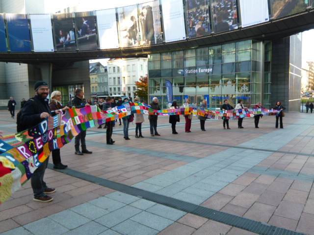 Scarf - in front of Eu Parliament